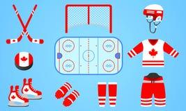 Coleção canadense do equipamento do hóquei em gelo Ilustração do vetor Ícones isolados com a bandeira nacional de Canadá Projeto  ilustração do vetor