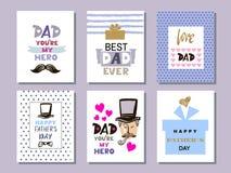 Coleção cards3 do dia do ` s do pai ilustração stock