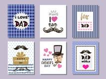 Coleção cards7 do dia do ` s do pai ilustração royalty free