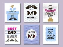 Coleção cards5 do dia do ` s do pai ilustração stock