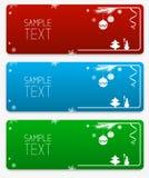 Coleção colorida das bandeiras do vetor do Natal e do ano novo com quinquilharias do Natal e flocos de neve e bloco de texto da a Foto de Stock Royalty Free