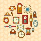 Coleção colorida das garatujas do relógio de pulso de disparo Imagens de Stock