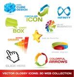 Coleção colorida de ícones do Web 3d Imagens de Stock Royalty Free