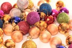 Coleção colorida de esferas do Natal Fotografia de Stock Royalty Free