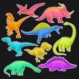 Coleção colorida de répteis pré-históricos Animal gigante do período jurássico Caráteres do dinossauro dos desenhos animados no e ilustração royalty free