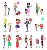 Coleção colorida do conceito do dia das mulheres s no branco ilustração royalty free