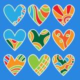 Coleção colorida do coração Fotos de Stock Royalty Free