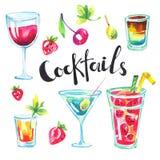 Coleção colorida do partido Cocktail e bagas tropicais da aquarela O verão moderno ajustou-se para o cartão do feriado, cartão ilustração do vetor