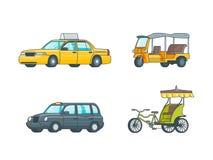 Coleção colorida do transporte do táxi Fotos de Stock Royalty Free