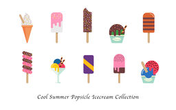 Coleção colorida doce da sobremesa do gelado fresco do picolé do verão ilustração royalty free
