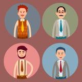 Coleção colorida dos ícones do caráter quatro dos homens ilustração royalty free