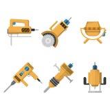 Coleção colorida dos ícones do equipamento de construção Foto de Stock