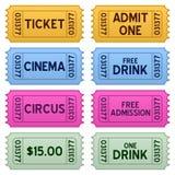 Coleção colorida dos bilhetes Fotografia de Stock Royalty Free