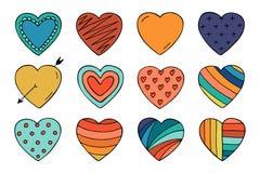 Coleção colorida dos corações no estilo da garatuja Foto de Stock Royalty Free