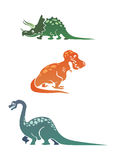 Coleção colorida dos dinossauros dos desenhos animados Imagem de Stock