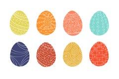 Coleção colorida dos ovos da páscoa no estilo da garatuja Mão desenhada Foto de Stock Royalty Free