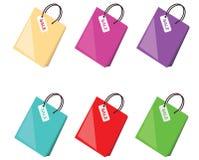 Coleção colorida dos sacos de compra Fotos de Stock Royalty Free