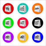Coleção colorida relativa à promoção das etiquetas da venda Fotos de Stock