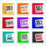Coleção colorida relativa à promoção das etiquetas da venda Enrole o papel Fotos de Stock Royalty Free