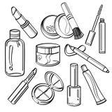 Coleção cosmética dos produtos Fotografia de Stock Royalty Free