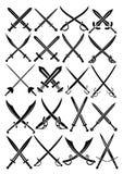 Coleção cruzada do vetor das espadas em Backgrou branco Fotografia de Stock
