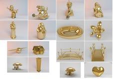 Coleção 3d grande de objetos dourados Fotos de Stock Royalty Free