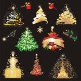 Coleção da árvore de Natal. Foto de Stock