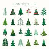 Coleção da árvore de Natal Foto de Stock