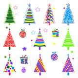 Coleção da árvore do ano novo Coleção colorida para decorar de seus locais, cartão, empacotando, materiais de embalagem ilustração royalty free