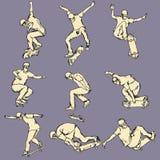 Coleção da ação do esporte do skate Foto de Stock