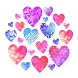 Coleção da aquarela de corações decorativos multicoloridos Foto de Stock