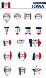 Coleção da bandeira de Iowa Grupo grande para o projeto ilustração stock