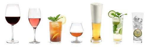 Coleção da bebida isolada Imagens de Stock