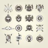 Coleção da brasão - emblemas e blazons, crista heráldica ilustração do vetor