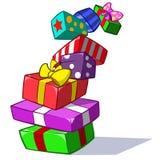 Coleção da caixa de presente colorida do teste padrão Fotos de Stock Royalty Free