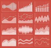 Coleção da carta de negócio Grupo de gráficos Visualização dos dados Fotos de Stock Royalty Free