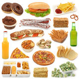 Coleção da comida lixo Fotografia de Stock