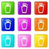 Coleção da cor do grupo 9 dos ícones da munição da garrafa do Paintball ilustração do vetor
