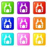 Coleção da cor do grupo 9 dos ícones da munição da veste do Paintball ilustração stock