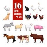 Coleção da cor dos animais de exploração agrícola Fotografia de Stock Royalty Free