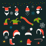 Coleção da decoração do Natal, Ilustração Stock