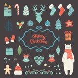 Coleção da decoração do Natal Imagens de Stock Royalty Free