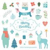 Coleção da decoração do Natal Imagem de Stock