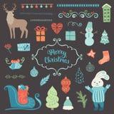 Coleção da decoração do Natal Fotos de Stock Royalty Free