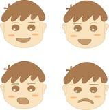 Coleção da emoção da cara do menino Fotografia de Stock Royalty Free