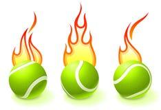 Coleção da esfera de tênis do incêndio ilustração royalty free