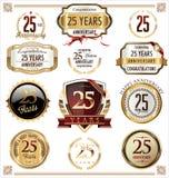 Coleção da etiqueta do aniversário, 25 anos Imagens de Stock