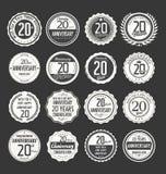 Coleção da etiqueta do aniversário, 20 anos Fotos de Stock Royalty Free