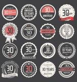Coleção da etiqueta do aniversário, 30 anos Imagens de Stock Royalty Free