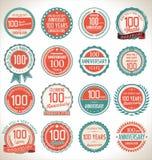Coleção da etiqueta do aniversário, 100 anos Imagens de Stock
